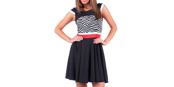 Dámske šaty s čierno-bielym vzorom a červenými prvkami Nelita