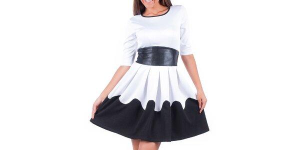 Dámske čierno-biele šaty so zaväzovaním v páse Nelita