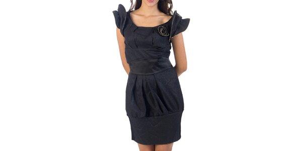 Dámske čierne trblietavé šaty s ružičkou Nelita