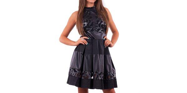Dámske čierne šaty so skladanou sukňou Nelita