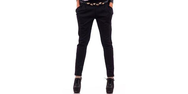 Dámske čierne nohavice s vreckami Nelita