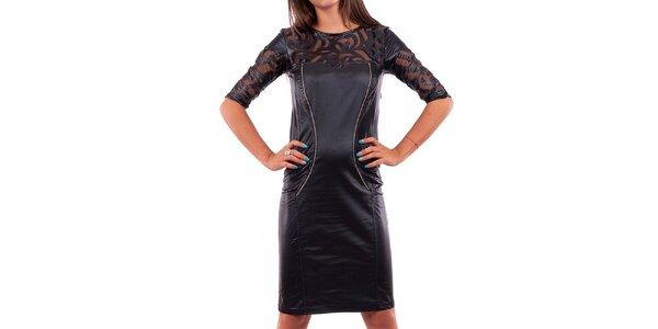 Dámske čierne šaty s ozdobným dekoltom a rukávmi Nelita