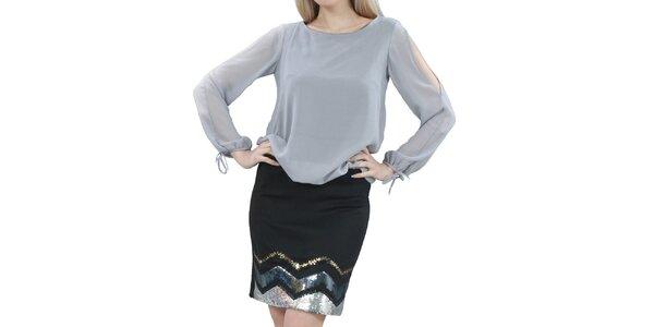 Dámske šedo-čierne šaty s flitrami na sukni Nelita