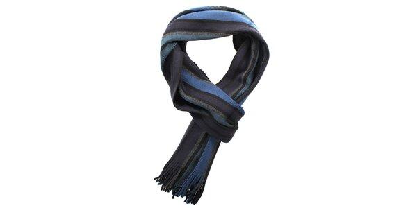 Dámsky modrý pruhovaný šál Fraas