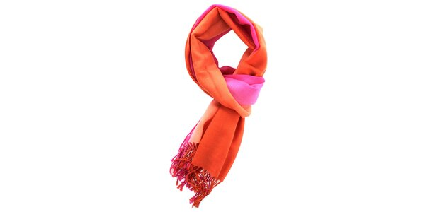 Dámsky vlnený ružovo-oranžový šál Fraas