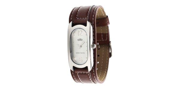 Dámske hodinky s tmavo hnedým remienkom Elite