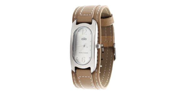 Dámske hodinky so svetlo hnedým remienkom Elite