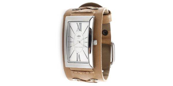 Dámske hodinky s hnedým remienkom Elite