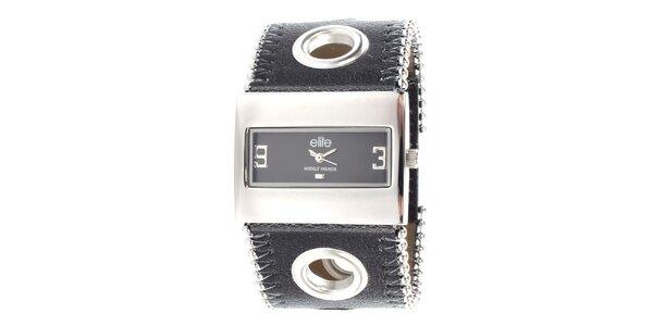 Dámske hodinky s obdĺžnikovým ciferníkom a čiernym remienkom Elite