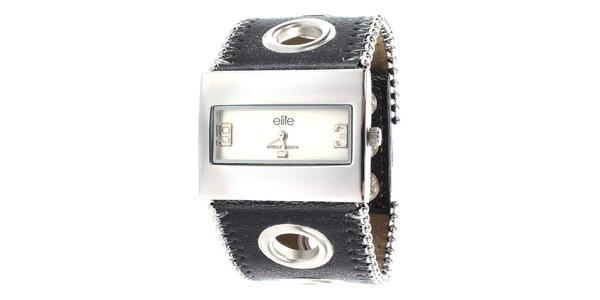 Dámske hodinky s obdĺžnikovým ciferníkom a dekoratívnym remienkom Elite