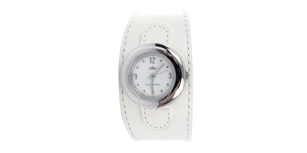 Dámske okrúhle hodinky s bielym remienkom Elite