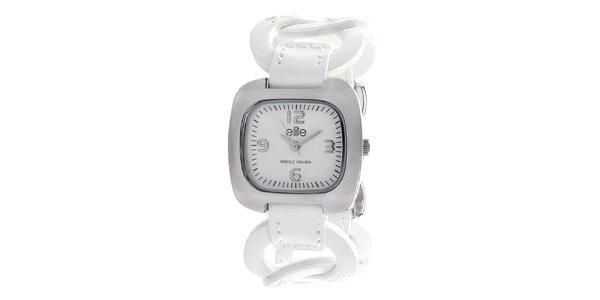 Dámske hodinky s bielym krúžkovým remienkom Elite
