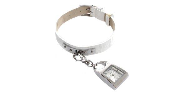Dámske hodinky s karabínkou a bielym remienkom Elite
