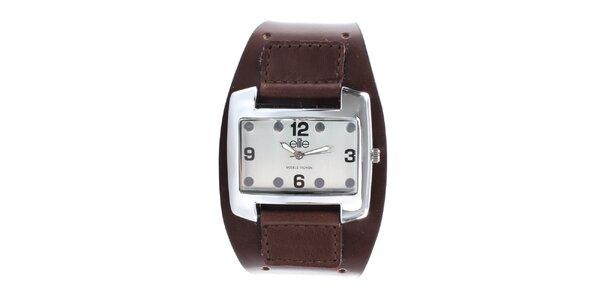 Dámske hodinky z nerezovej ocele s tmavo hnedým remienkom Elite