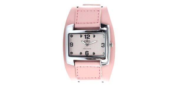Dámske hodinky z nerezovej ocele s ružovým remienkom Elite