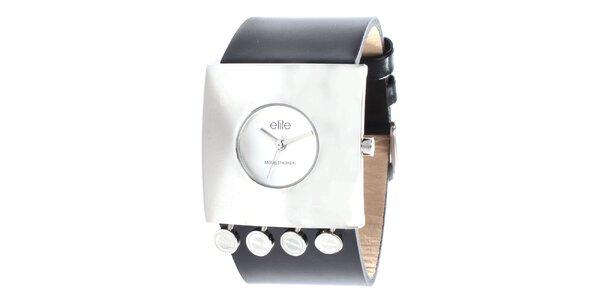 Dámske hodinky s hranatým púzdrom a čiernym remienkom Elite