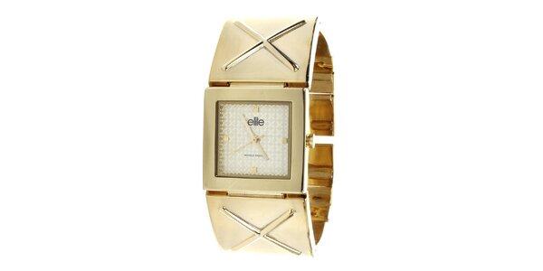 Dámske hodinky so štvorcovým ciferníkom v zlatom tóne Elite