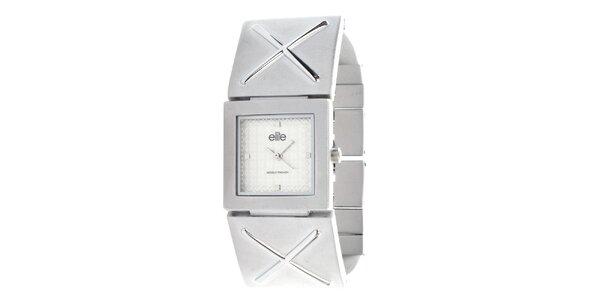 Dámske hodinky so štvorcovým ciferníkom v striebornej farbe Elite