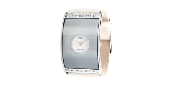 Dámske hodinky s bielym remienkom a kamienkami Elite