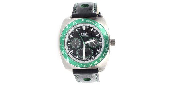Pánske hodinky so zelenou lunetou Elite