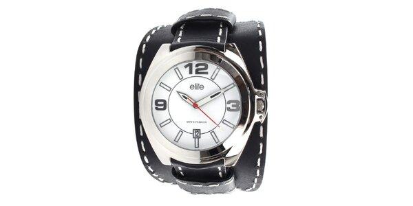Pánske hodinky s čiernym prešívaným remienkom Elite