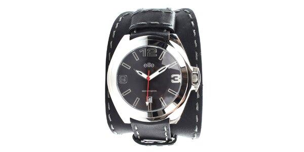 Pánske čierne hodinky so šedým prešívaním Elite