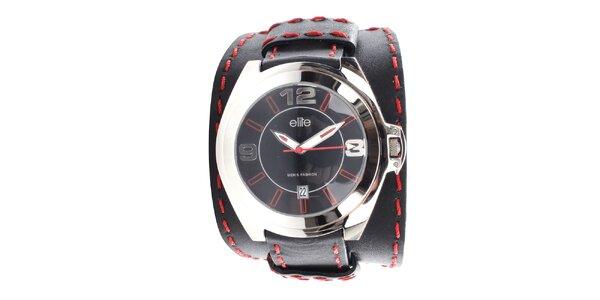 Pánske čierne hodinky s červeným prešívaním Elite