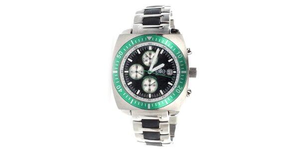 Pánske oceľové hodinky so zelenou lunetou Elite