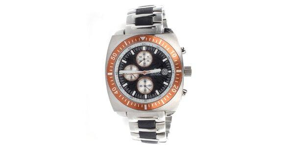 Pánske oceľové hodinky s oranžovou lunetou Elite
