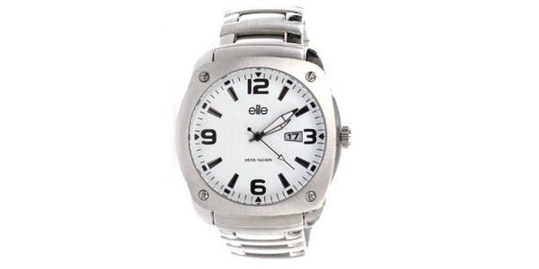 Pánske oceľové hodinky s dátumovkou Elite