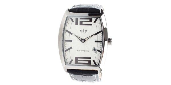 Pánske hodinky s čiernym vzorovaným remienkom Elite