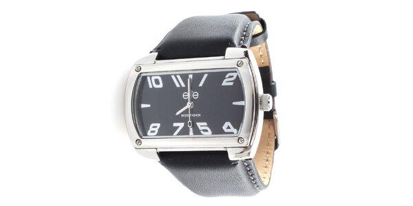 Pánske hodinky s obdĺžnikovým tmavým ciferníkom Elite