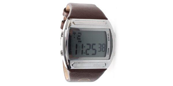 Pánske digitálne hodinky s hnedým remienkom Elite
