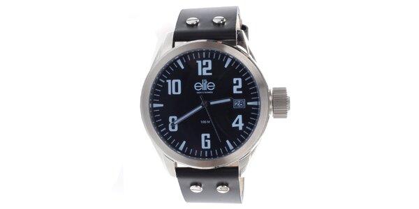 Pánske hodinky s čiernym remienkom a dátumovkou Elite