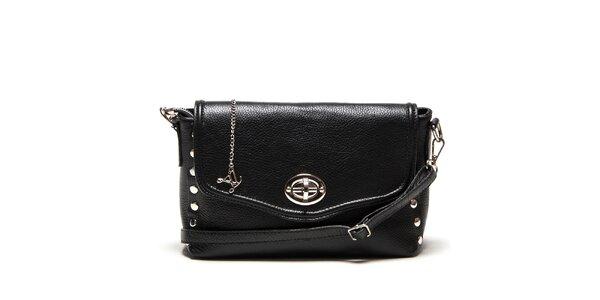 Dámska menšia čierna kabelka cez rameno so zámčekom Luisa Vannini