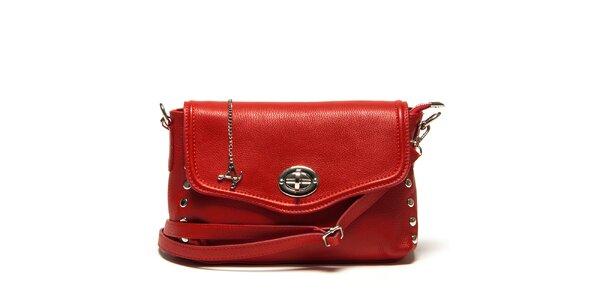Dámska menšia červená kabelka cez rameno so zámčekom Luisa Vannini