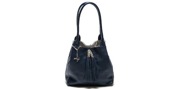 Dámska tmavo modrá kožená taška so strapcami Luisa Vannini