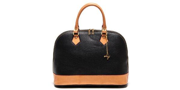 Dámska čierna kabelka s príveskom a kontrastnými detailmi Luisa Vannini