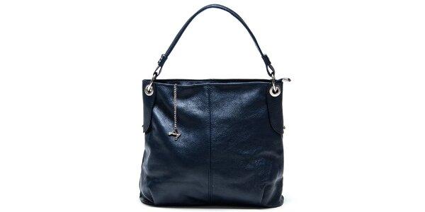 Dámska modrá kožená kabelka s jedným popruhom Luisa Vannini