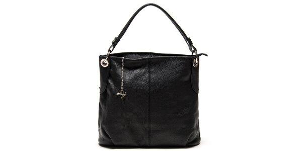 Dámska čierna kožená kabelka s jedným popruhom Luisa Vannini