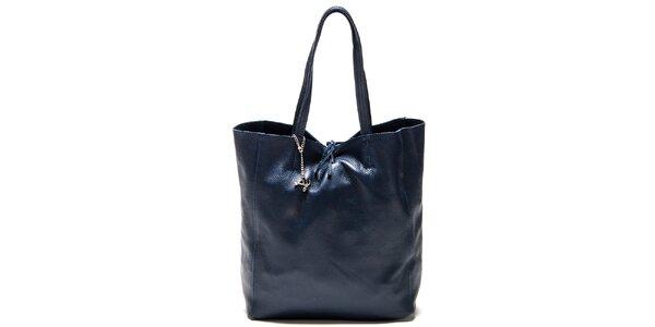 Dámska akvamarínovo modrá kožená kabelka Luisa Vannini