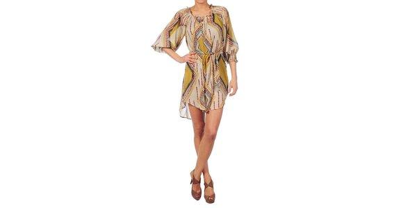 Dámske béžové šaty Nolita s indiánským vzorom