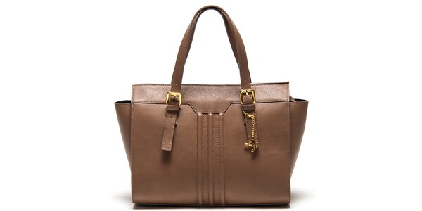 Dámska hnedá kabelka s reliéfnymi prúžkami Luisa Vannini