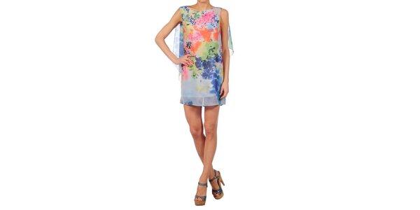 Dámske bledo modré šaty Nolita s kvetinovým vzorom