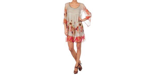Dámske béžové šaty Nolita s kvetinovou potlačou