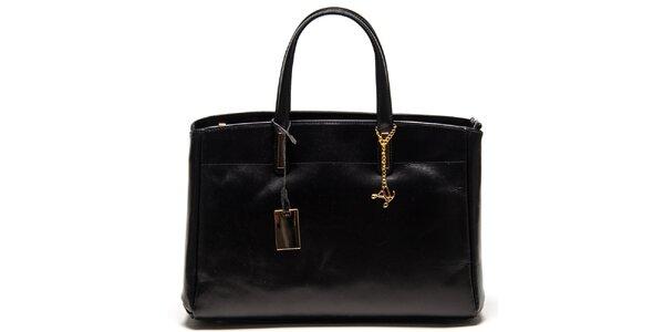 Dámska čierna kožená kabelka s tromi oddeleniami Luisa Vannini