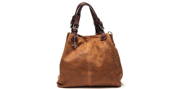 Dámska koňakovo hnedá kožená kabelka so šupinatým vzorom Luisa Vannini