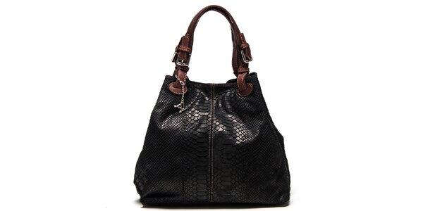 Dámska čierna kožená kabelka so šupinatým vzorom Luisa Vannini