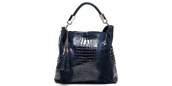 Dámska tmavomodrá kožená kabelka s motívom krokodílej kože Luisa Vannini