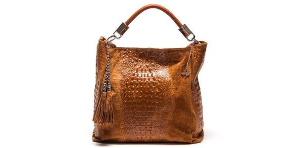 Dámska koňakovo hnedá kožená kabelka s motívom krokodílej kože Luisa Vannini